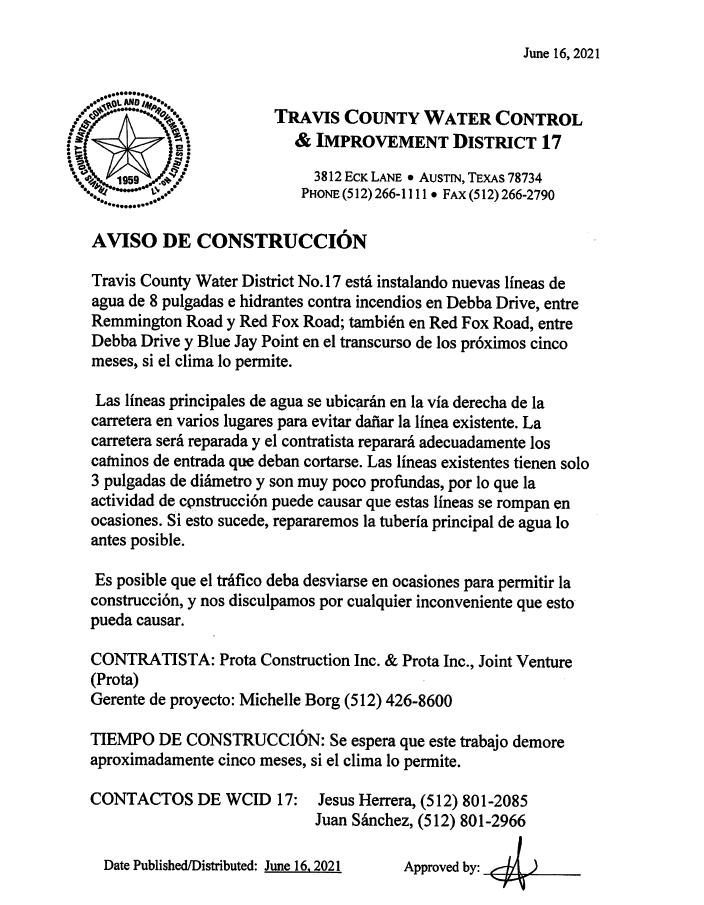 Red Fox Road Construction - Spanish